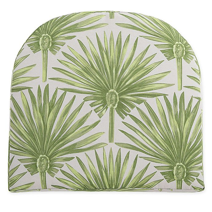 Alternate image 1 for Print Indoor/Outdoor Stacking Wicker Seat Cushion in Green Palm