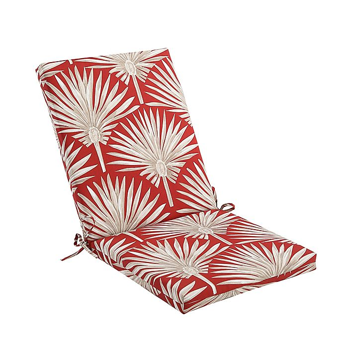 Alternate image 1 for Print Indoor/Outdoor Folding Wicker Chair Cushion in Red Palm