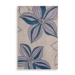 Nourison Contours Floral Rugs in Blue