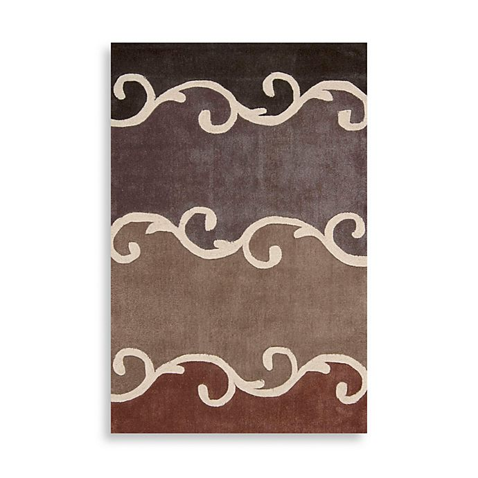 Alternate image 1 for Nourison Contours Mocha Brown Scroll Area Rugs