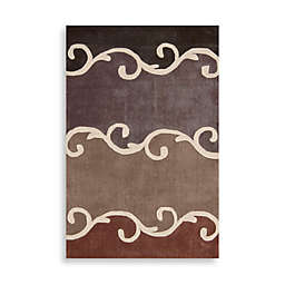 Nourison Contours Mocha Brown Scroll Area Rugs