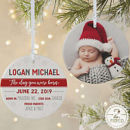 The Day You Were Born Personalized 2-Sided Matte Christmas Ornament