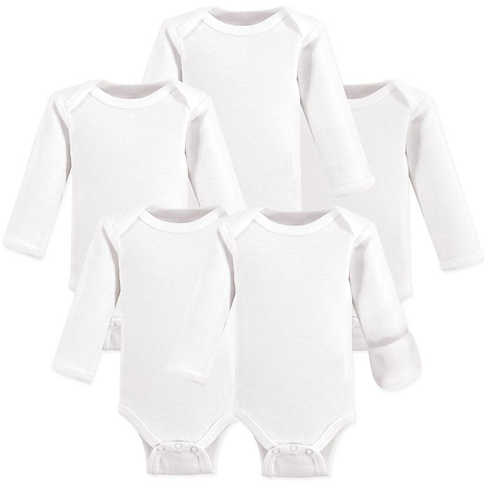 Alternate image 1 for Hudson Baby® Preemie 5-Pack Long-Sleeve Bodysuits in White
