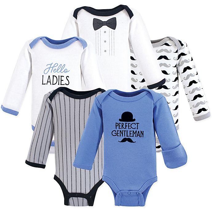 Alternate image 1 for Hudson Baby® Preemie 5-Pack Long-Sleeve Gentleman Bodysuits in Blue/White/Grey