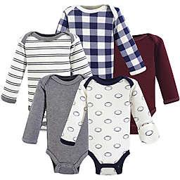 Hudson Baby® Preemie 5-Pack Long-Sleeve Football Bodysuits in White/Brown/Grey