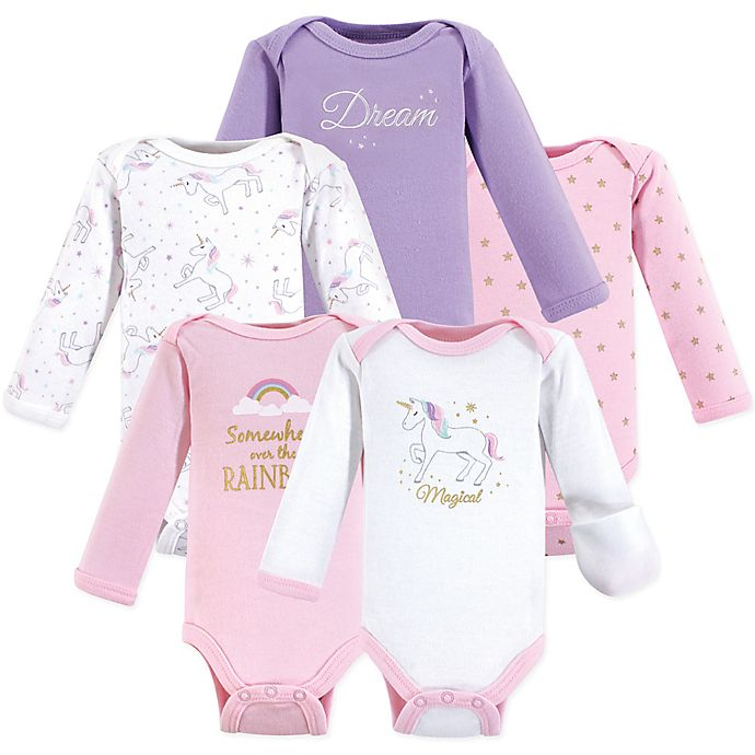 Alternate image 1 for Hudson Baby® Preemie 5-Pack Unicorn Bodysuits in Pink