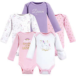 Hudson Baby® Preemie 5-Pack Unicorn Bodysuits in Pink