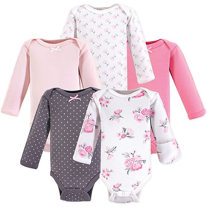 Alternate image 1 for Hudson Baby® Preemie 5-Pack Floral Bodysuits in Pink