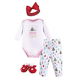 Hudson Baby® Size 0-6M 4-Piece Sparkle Trees Layette Set in Pink