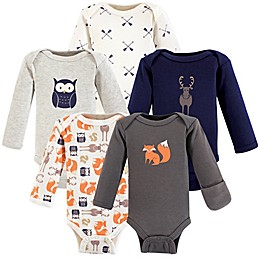 Hudson Baby® Preemie 5-Pack Long-Sleeve Forest Bodysuits in Grey/Blue/White