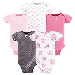 Hudson Baby® Preemie 5-Pack Floral Short Sleeve Bodysuits in Pink