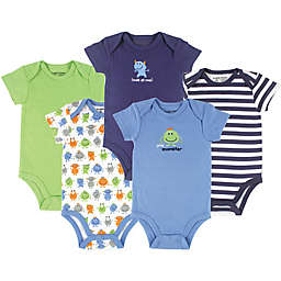 Luvable Friends® 5-Pack Monster Bodysuits in Green