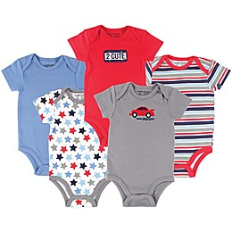 Luvable Friends® 5-Pack Car Bodysuits in Red/Grey/Blue