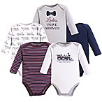 Hudson Baby® Size 6-9M 5-Pack Train Bodysuits in Blue
