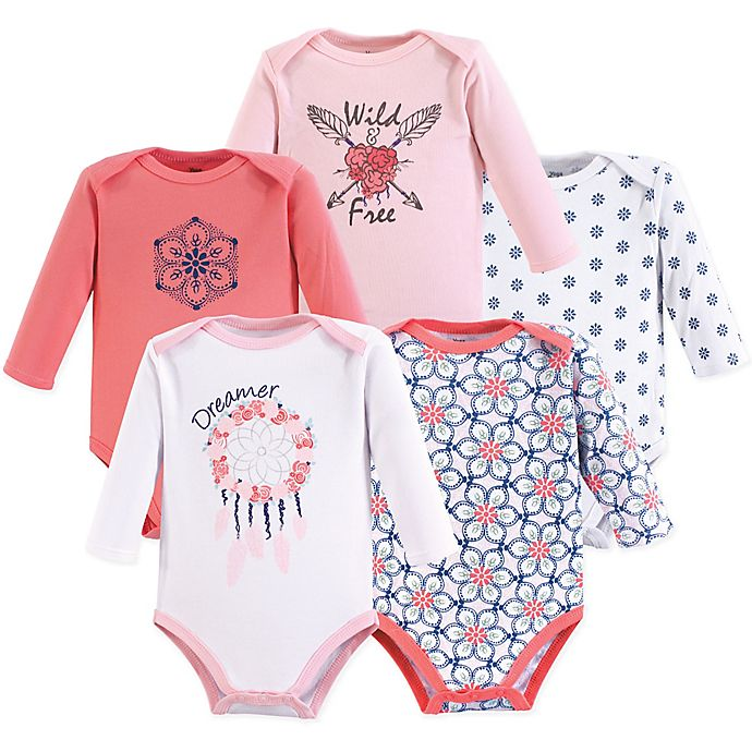 Alternate image 1 for Yoga Sprout 5-Pack Dream Catcher Long Sleeve Bodysuits in Pink