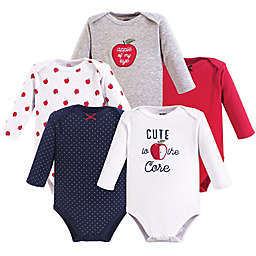 Hudson Baby® 5-Pack Apple Long Sleeve Bodysuits in Red