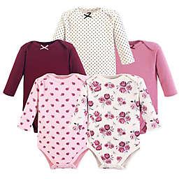 Hudson Baby® 5-Pack Rose Long Sleeve Bodysuits in Purple
