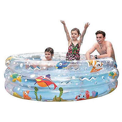 59-Inch Transparent 3-Ring Inflatable Children's Swimming Pool