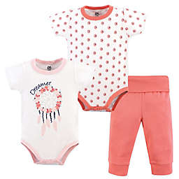 Yoga Sprout 3-Piece Dream Catcher Bodysuit & Pant Set in Pink