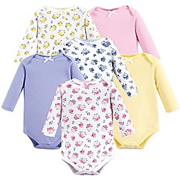 Luvable Friends® 6-Pack Long Sleeve Floral Bodysuits in Pink