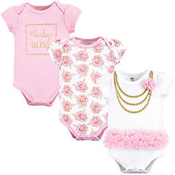 Little Treasures 3-Pack Gold Roses Bodysuits in Pink