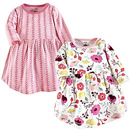 Touched by Nature 2-Pack Botanical Long Sleeve Organic Cotton Dresses in Pink