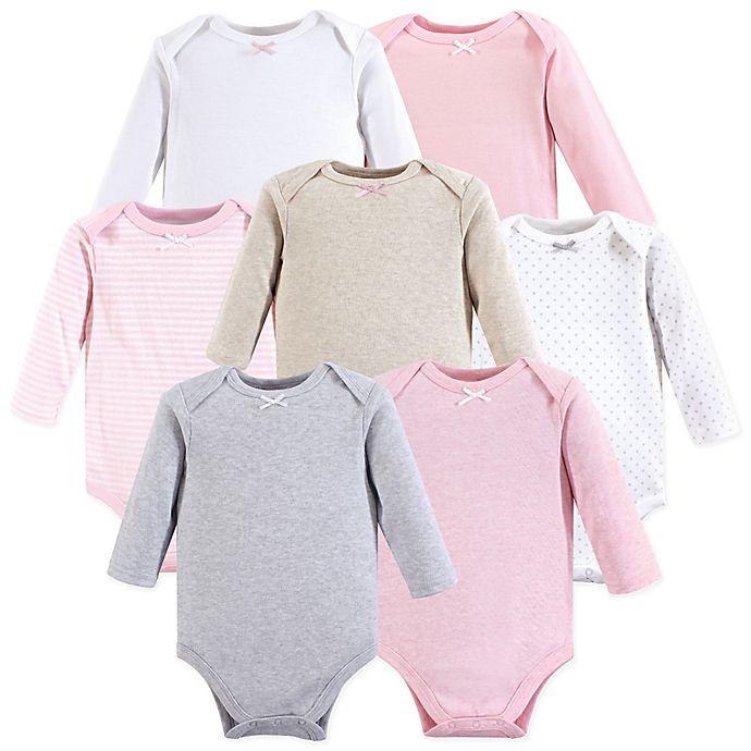 Alternate image 1 for Hudson Baby® 7-Pack Girl Basics Long Sleeve Bodysuits in Pink