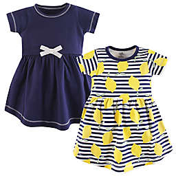Touched by Nature Size 3T 2-Pack Lemons Short Sleeve Organic Cotton Dresses in Blue