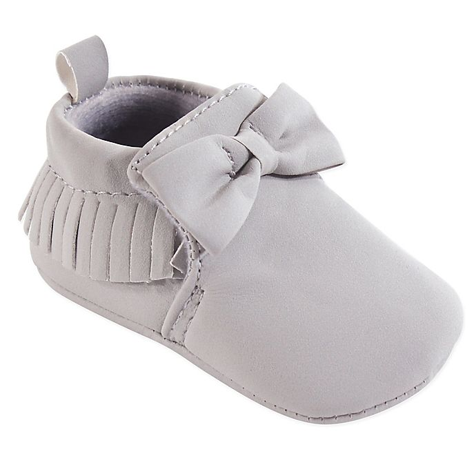 Alternate image 1 for Hudson Baby® Moccasin Booties in Grey