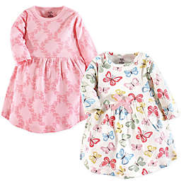 Touched by Nature 2-Pack Butterflies Long Sleeve Organic Cotton Dresses in Pink