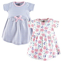 Touched by Nature 2-Pack Rose/Stripe Short Sleeve Organic Cotton Dresses in Pink