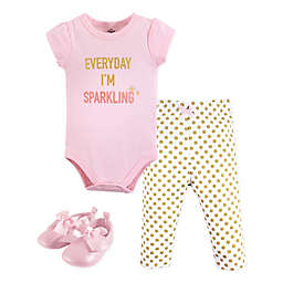 Little Treasures 3-Piece Sparkling Short Sleeve Bodysuit, Pant and Shoe Set in Pink