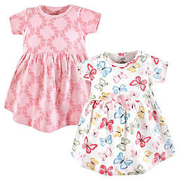 Touched by Nature Size 3-6 M 2-Pack Butterflies Short Sleeve Organic Cotton Dresses in Pink