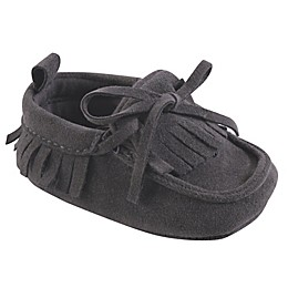 Hudson Baby® Fringe Moccasin Booties in Charcoal Grey