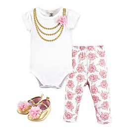 Little Treasures 3-Piece Gold Roses Short Sleeve Bodysuit, Pant and Shoe Set in Pink