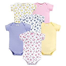 Luvable Friends® 6-Pack Floral Short Sleeve Bodysuits in Pink