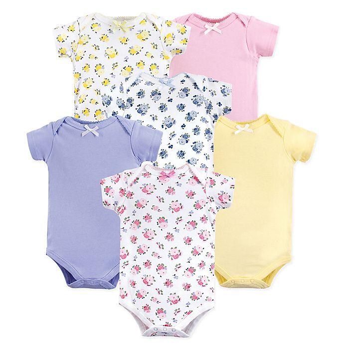 Alternate image 1 for Luvable Friends® 6-Pack Floral Short Sleeve Bodysuits in Pink