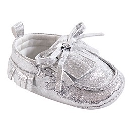 Hudson Baby® Moccasins in Silver