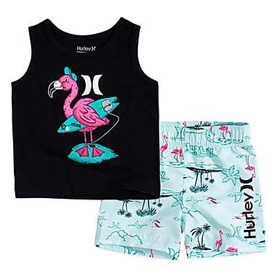 Hurley® 2-Piece Flamingo Boardshort Set in Blue
