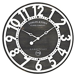 Sterling & Noble™ Farmhouse Collection Rustic 15.5-Inch Wall Clock in Black/White