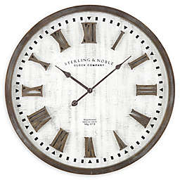 Sterling & Noble™ Farmhouse Collection Rustic Raised Roman Wall Clock in Ivory