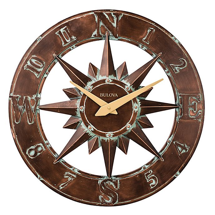 Alternate image 1 for Bulova Nor'Easter Three Dimentional Wall Clock in Aged Bronze