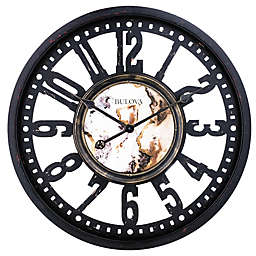Bulova Station Master 23-Inch Wall Clock in Aged Brown