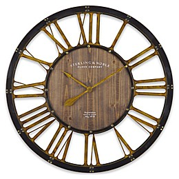 Sterling & Noble™ Farmhouse Collection Depot 35-Inch Wall Clock in Brown/Gold