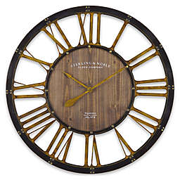 Sterling & Noble™ Farmhouse Collection Depot Wall Clock in Brown/Gold