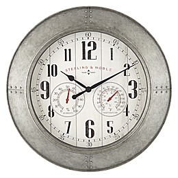 Sterling & Noble™ Farmhouse Collection Galvanized 15.5-Inch Outdoor Wall Clock/Weather Center
