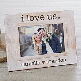 """I Love Us"" Engraved White Washed Picture Frame"