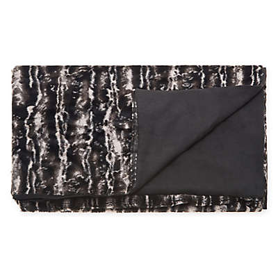 Mina Victory Fur Throw Blanket in Black/Silver