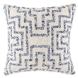 Tufted Geometric Square Throw Pillow in Indigo and Ivory