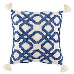 Tufted Trellis Geometric Square Throw Pillow in Indigo and Ivory